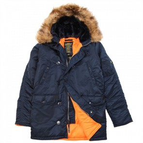 Куртка Slim Fit N-3B Black\OrangeW\Black Fur Alpha Industries