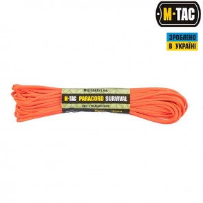 Паракорд Survival Safety Orange 15м M-TAC