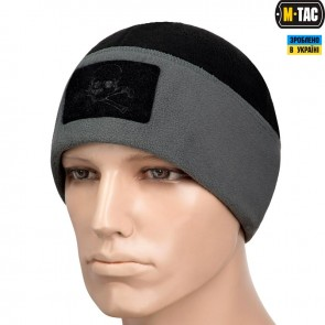 Шапка Watch Cap Elite фліс/сітка Pirate Skull Windblock 380G чорно-сіра M-TAC
