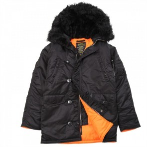 Куртка Slim Fit N-3B Black\OrangeW\Brown Fur Alpha Industries